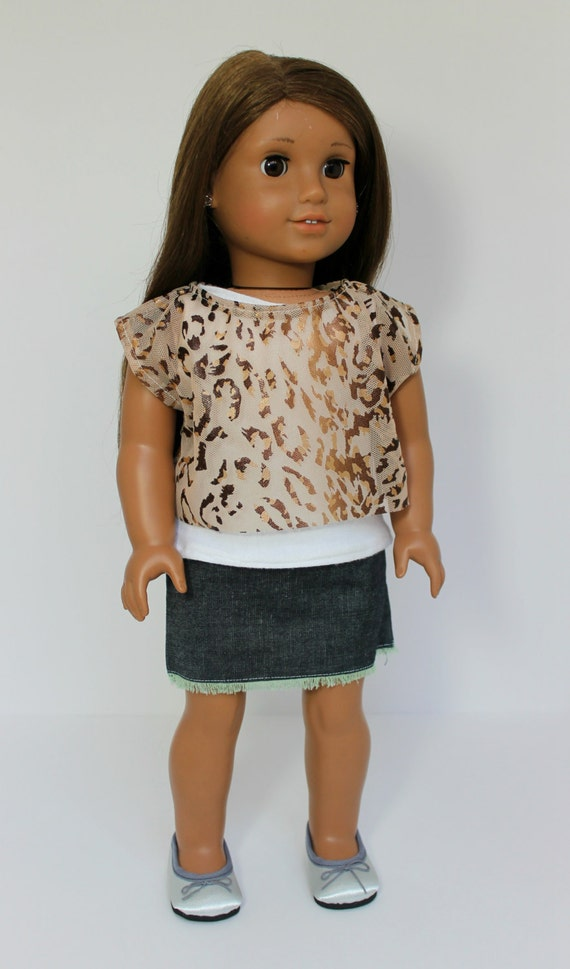 Animal Print Off the Shoulder Top-American Girl Dol