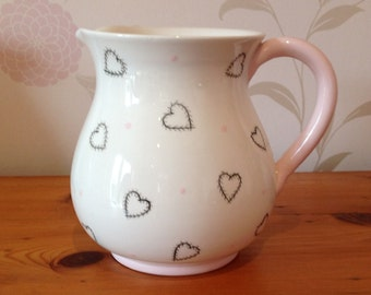 Hand Painted Ceramic Heart Jug - Pale Pink Patchwork Heart Design