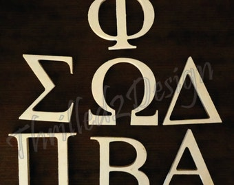 20 inch Wood GREEK unpainted Letters - Your choice Sorority, Fraternity