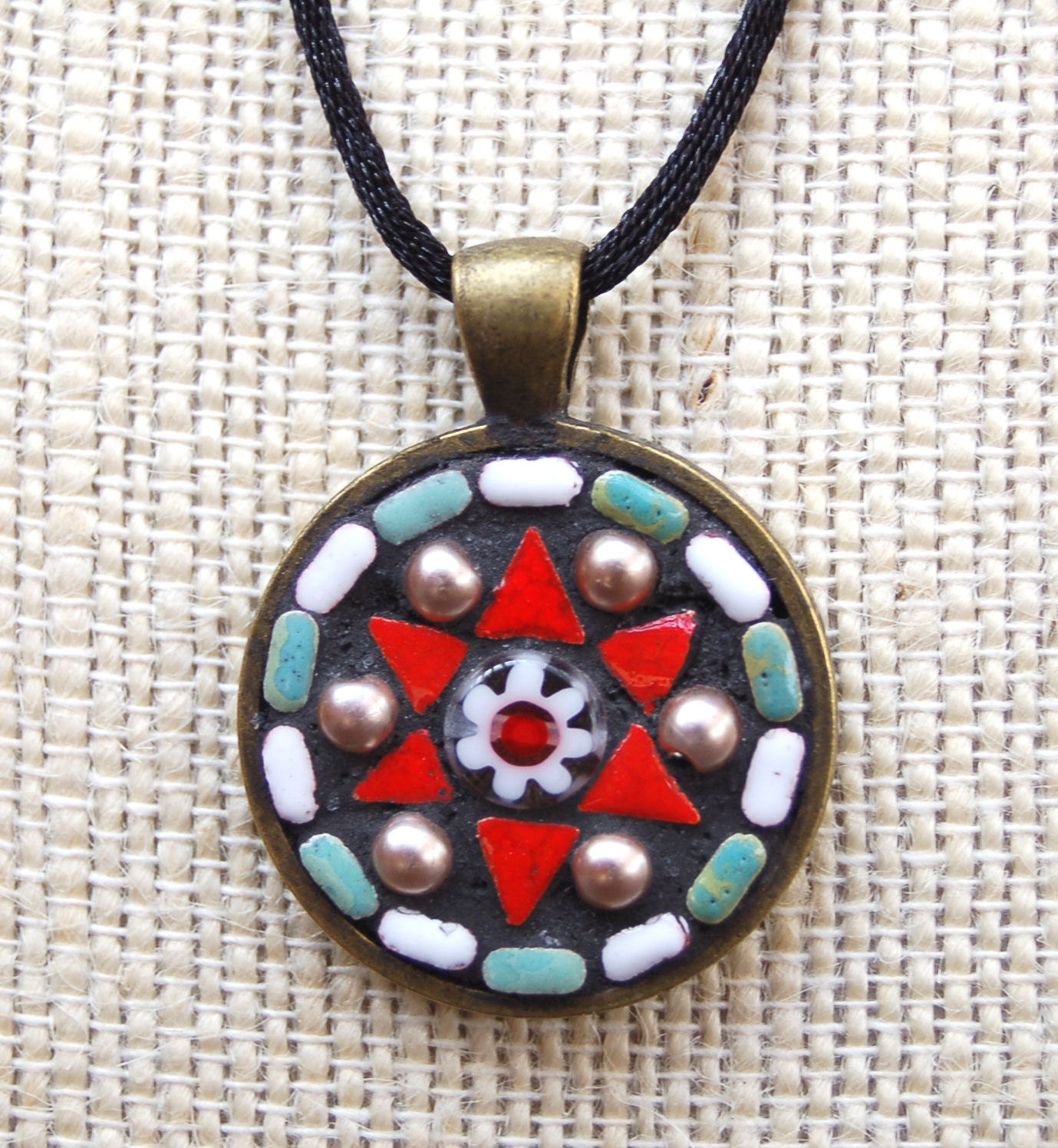 handmade mosaic tile pendant necklace by