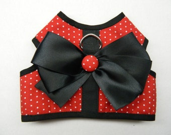 Red with white polka dot dog harness XS
