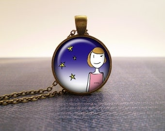 Starry night glass pendant, hand-drawn design