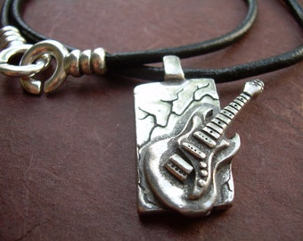 Leather Necklace, Guitar Pendant, Men's Necklace, Men's Jewelry, Men's Gift, Pendant, Guitar,Music Lover,Music Gift, Band Gift,Musician Gift