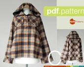 PDF sewing pattern. Women Short Duffle Jacket -Caramel- (size 34-42)