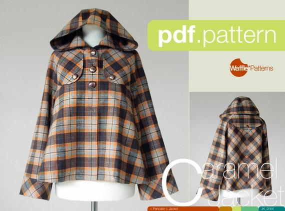 PDF sewing pattern. Women Short Duffle Jacket -Caramel- (size 34-42)