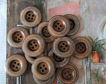 12Pcs  25mm Brown coffee  Wood button 4 holes( W099)