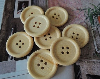 20Pcs  25mm Unfinished Natural  Wood button 4 holes No varnish  for your handmade ( W105)