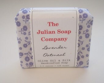 Soap - LAVENDER OATMEAL Olive Oil and Silk Handcrafted Fabric Wrapped Soap.  Handmade Soap. Natural Essential Oil Soap.
