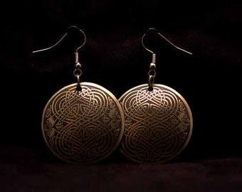 Celtic Art Earrings. Knotwork Design, Etched in Brass from the Book of Kells, Handmade in Scotland.