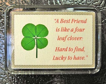Best Friend Fridge Magnet with a Real Genuine Four Leaf Clover - MBF-4M