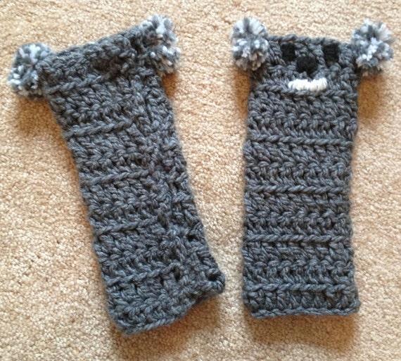 Knitting Pattern For Koala Bear Mittens : Handmade Crochet Koala Fingerless Gloves