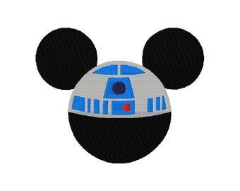 INSTANT DOWNLOAD Disney Meets Star Wars Mickey Mouse R2D2 Machine Embroidery Design Includes each in Both Applique and Filled Stitch