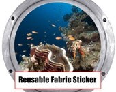 Huge 19 Inch Hanmade Porthole Decal Underwater Scene REMOVABLE REUSEABLE Canvas Decal 0203