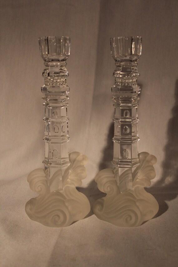 Lenox crystal lighthouse candlestick holders by greggspicks