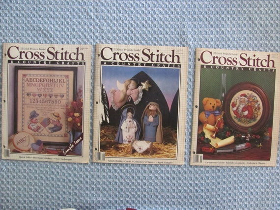 1987 vintage cross stitch and country crafts magazine 3 issues for Country living magazine cross stitch