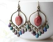 Bronze Pink Iris Chandelier Earrings, Pink Green Purple Bohemian Hoops, Large Boho Dangles,Boho Chic Jewelry, Gypsy Jewelry, Gifts Under 25