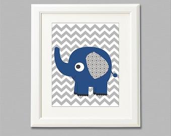 Navy and grey elephant nursery Art Print - 8x10 - Children wall art, Baby Room Decor, navy elephant, chevron - UNFRAMED