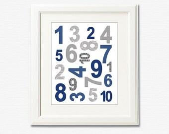 Navy and gray numbers nursery Art Print - 8x10 - Children wall art, Baby Room Decor - UNFRAMED