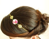Floral Headband-Gold filigree headband-Beaded hair accessory-Pink and gold- Adjustable headband - HeadbandFactory