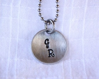 Initials Necklace - Hand Stamped Necklace - Custom Necklace - Boyfriend Necklace - Girlfriend Necklace - Thoughtful Gift - personalized