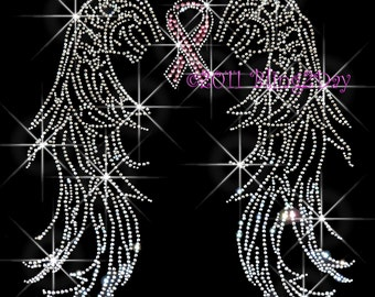 Angel Wings - Pink Breast Cancer Ribbon - Iron on Rhinestone Transfer Bling Hot Fix - DIY