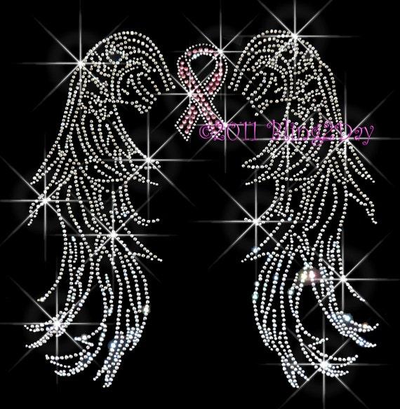 Angel Wings Pink Breast Cancer Ribbon Iron On Rhinestone
