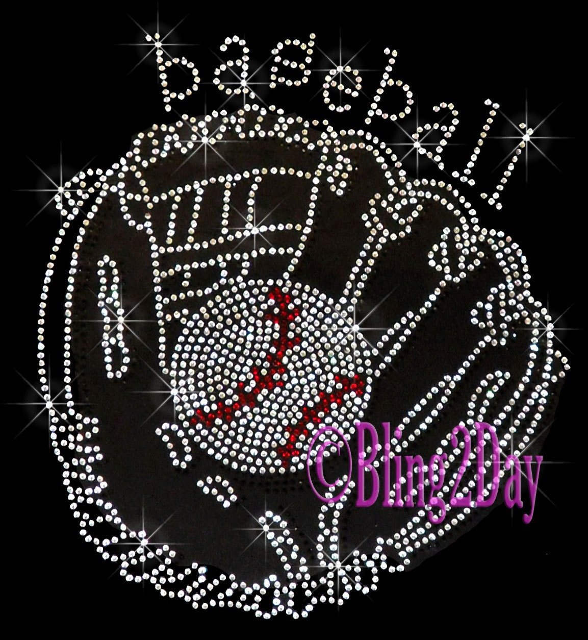 baseball glove mitt iron on rhinestone transfer bling hot. Black Bedroom Furniture Sets. Home Design Ideas