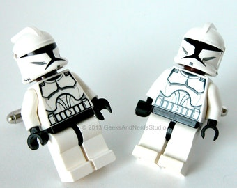 Groomsmen Gift - LEGO Star Wars Clone Trooper Figure Silver Cufflinks - Mens Cufflinks - Best Man Cuff Links - Star Wars Wedding