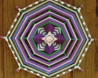 "ON SALE * 24"" Mandala Woven Yarn Art - Ojo de Dios Wall Hanging"