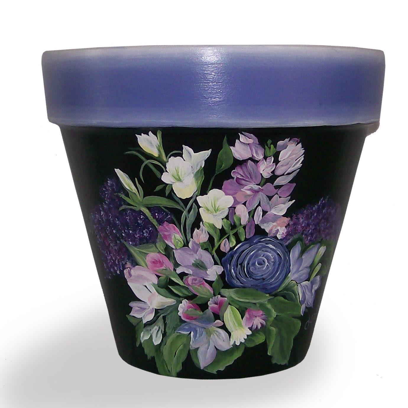 Blue Flowers On Black Flower Pot Hand Painted Original