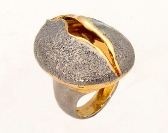 Gold and Rhodium Plated Sterling Silver Ring, Size 8.5