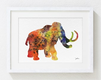 Colorful Art Watercolor Painting - Rainbow Mammoth 5x7 Archival Art Print - Modern Painting Animal Art Print - Home Decor, Nursery