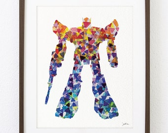 Transformer Robot Art Watercolor Painting - 8x10 Poster, Archival Print - Robot Print - Robots - Silhouette Art, Children's Wall Art