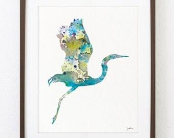 Bird Art Print - Bird Watercolor Painting - Great Blue Heron Art Print Wall Decor - Brown, Teal, Blue 8x10 Art Print