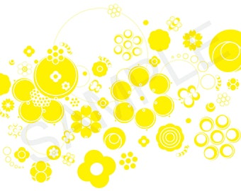 Yellow Graphic Circle Floral Illustration - Clip Art - Graphics - Patterns