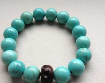Turquoise with wood bead