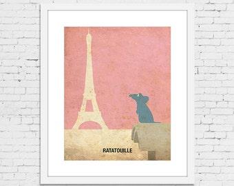 Ratatouille Retro Minimalist Poster Print