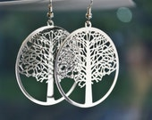 Rhodium Plated Laser Cut Tree Of Life Filigree Earrings