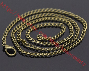 10pcs 18 inch Antiqued Bronze cable chain necklace with lobster clasps