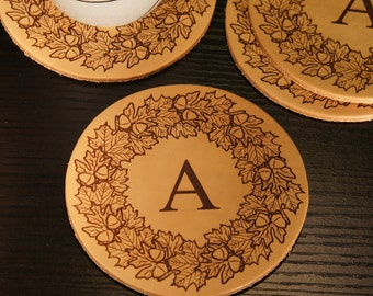 Personalized Leather Coasters Engraved with Your Choice of Our Monogram Design Options & Substitute Any Font From Our Selection (Each)