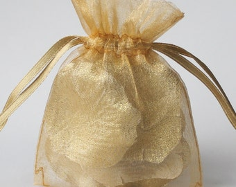 100 Gold Organza Bags, 4 x 6 Inch Sheer Favor Bags, For Wedding Favors or Jewelry