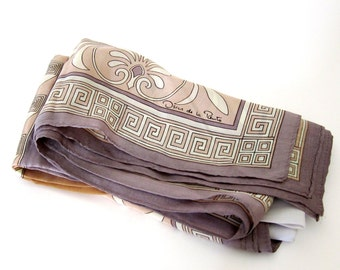 Silk Scarf Vintage Art Nouveau Womens Scarves Oscar de la Renta Vintage Accessories Signed Scarf// Free Shipping//