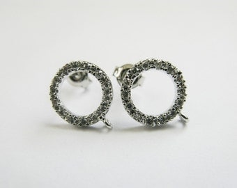 Sterling Silver Ring Posts, CZ, Earrings findings, 925 Silver, AAA, 10x12mm, One Pair