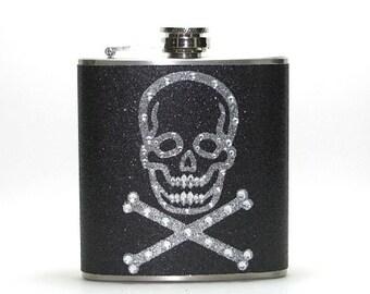 Black Rhinestone Scull Crossbones Sparkly Glitter 4, 6 or 8 oz Size Stainless Steel Liquor Hip Flask Flasks Weddings Bridesmaids Gift Idea