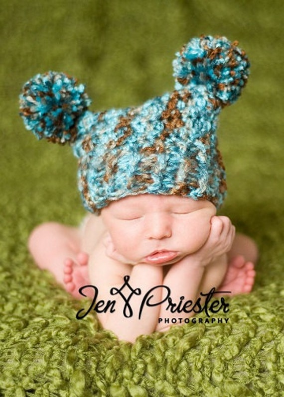Crochet Newborn Pom Pom Hat Pattern : Items similar to Double Pom Pom Hat Crochet PATTERN ...