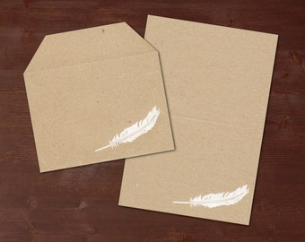 Feather white - handprinted stationery // recycling paper
