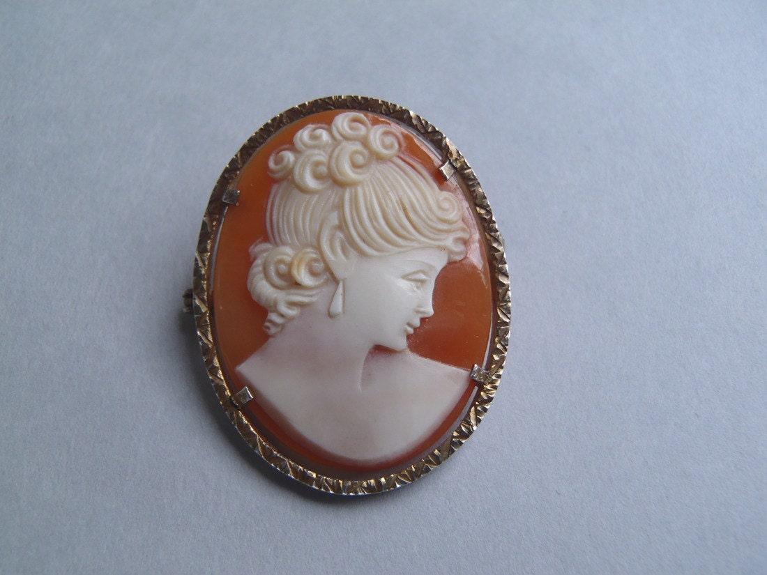 antique vintage retro cameo silver brooch pendant
