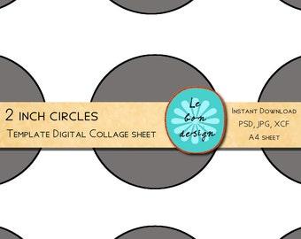 Cupcake toppers / 2 Inch Circle template 12 circles /diy collage sheet jpg, psd, gimp, for scrapbook and craft
