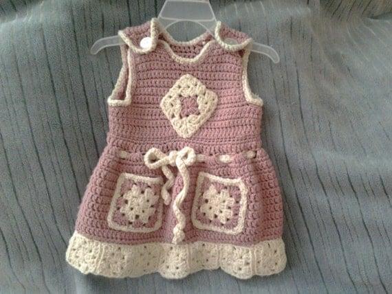 CLEARANCE SALE Crochet baby dress 6 12 mths pink dress