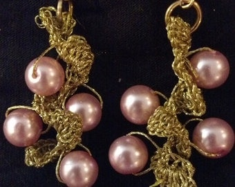 Hand Crocheted Gold with Pink Glass Beads